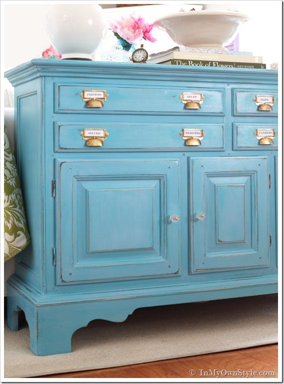 painted dresser in blue