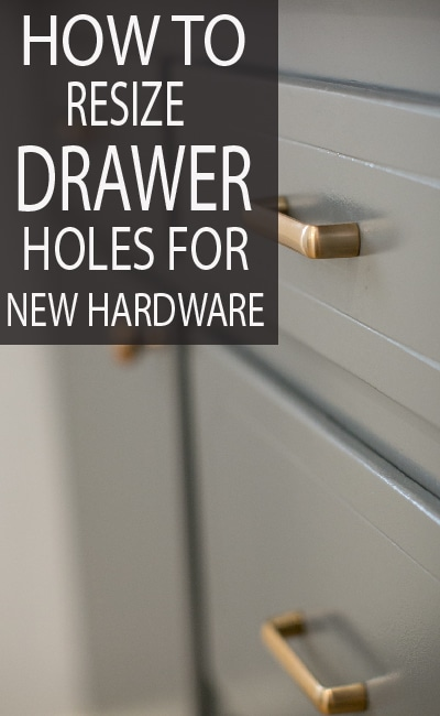 Learn the simple way to adjust your drawer handle sizes, on your next makeover DIY project.
