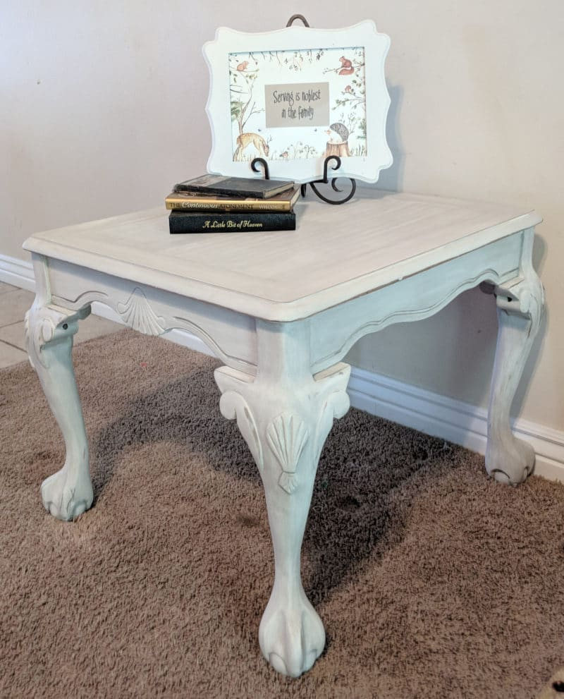white antiqued table