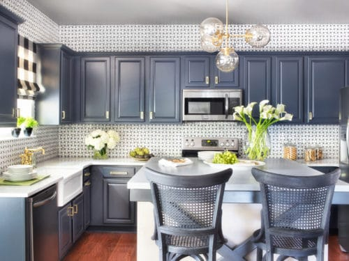 Good Blue Painted Kitchen Cabinets Photo