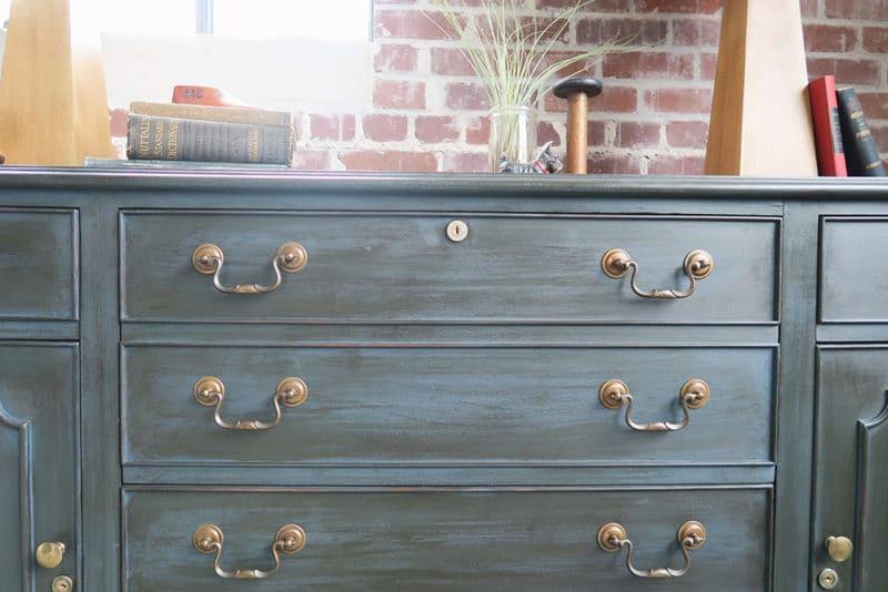 blue dresser with wax