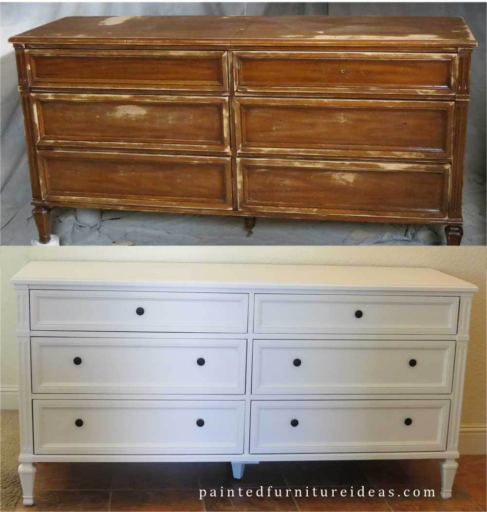 Painted furniture ideas before and after - 60 S Dresser Set Makeover Painted Furniture Projects