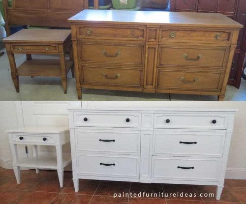 drexel dresser set refinished in white