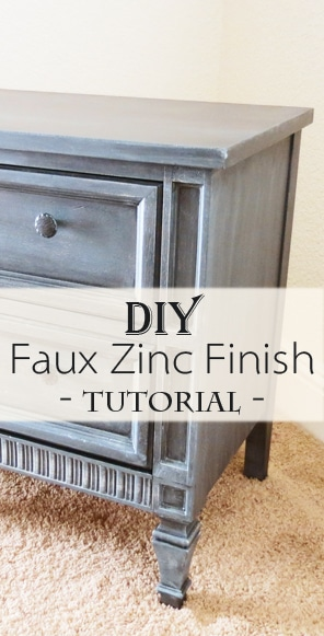Faux Zinc Finish Nightstand Makeover Page 4 Of 5 Painted Furniture Ideas