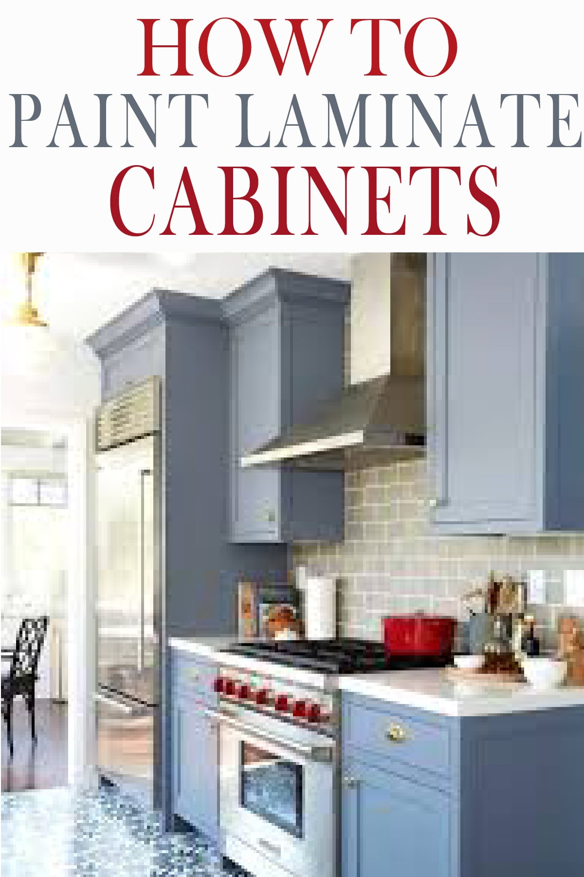 Learn how to paint laminate cabinets like a pro! Tips and tricks to getting paint to adhere and give you smooth finish!