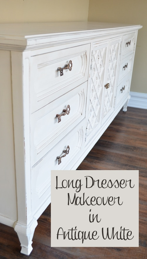 Long Antique Dresser Makeover in White - Painted Furniture ...