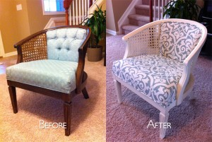Reupholstered Cane Chair