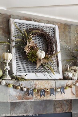 wreath on mantel