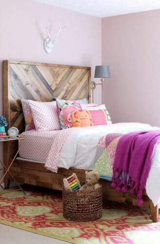 wooden chevron headboard tutorial