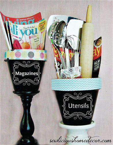 chalkboard paint pots