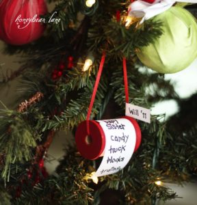 Christmas list spool ornament