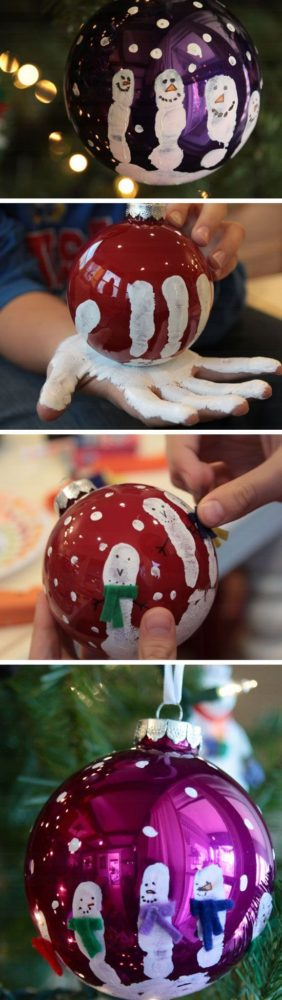 painted hand print ornament