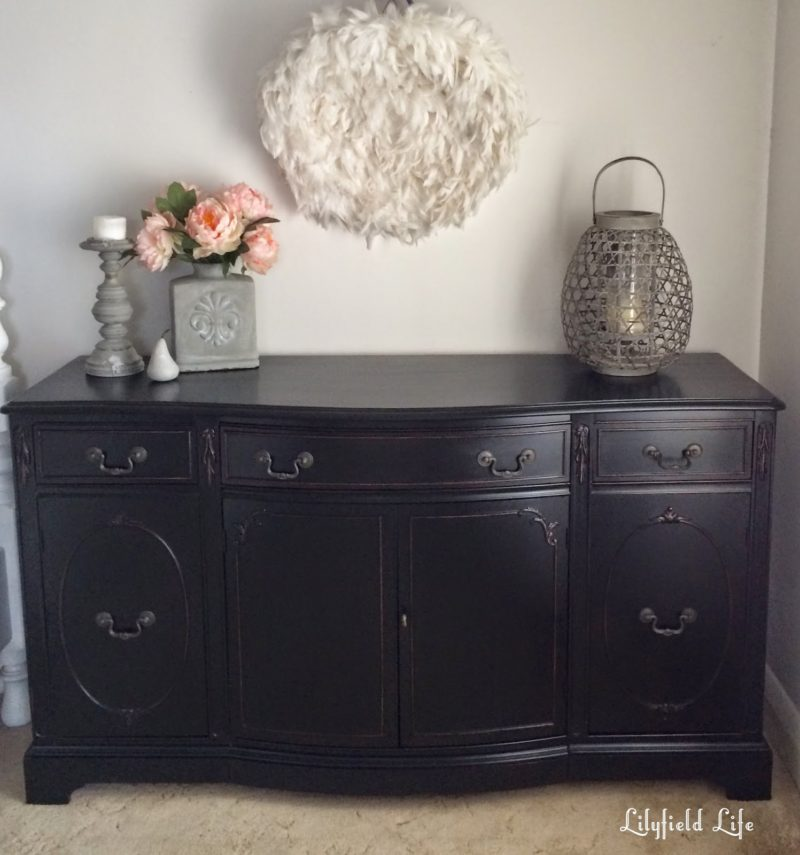 Grey Sideboard With Wood Top