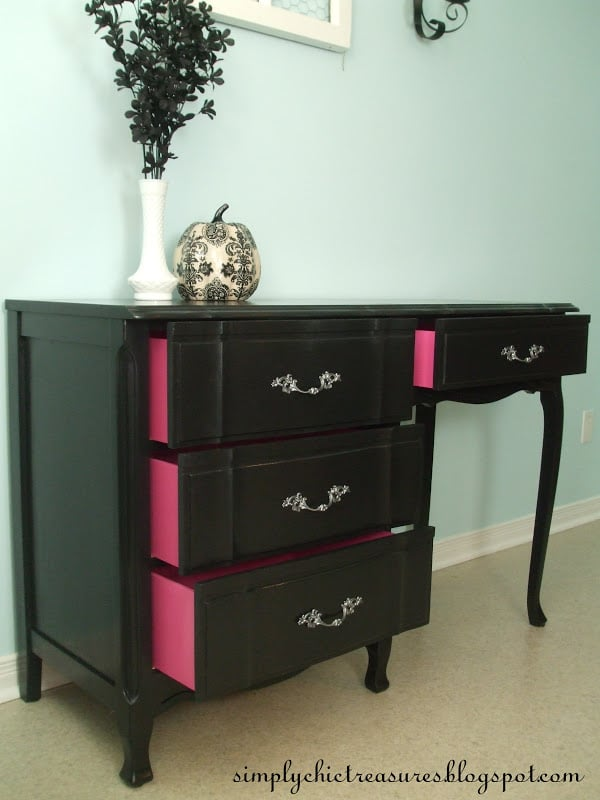table makeover black with pink