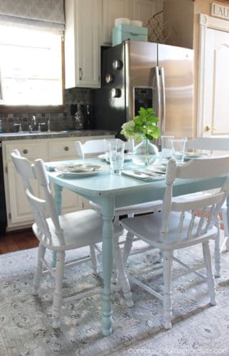 table makeover blue