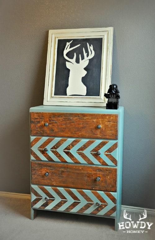 chevron painted dresser