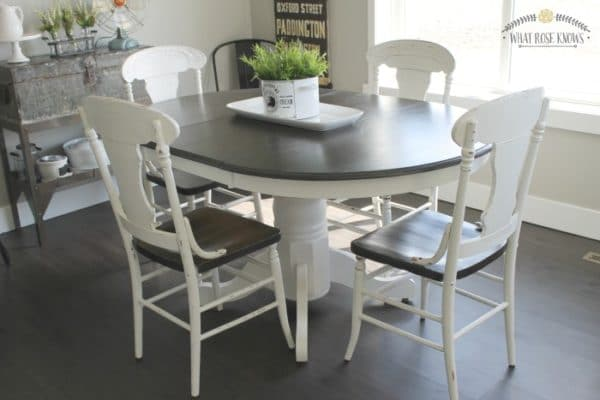 6 great paint colors for kitchen tables painted for Painted kitchen table ideas