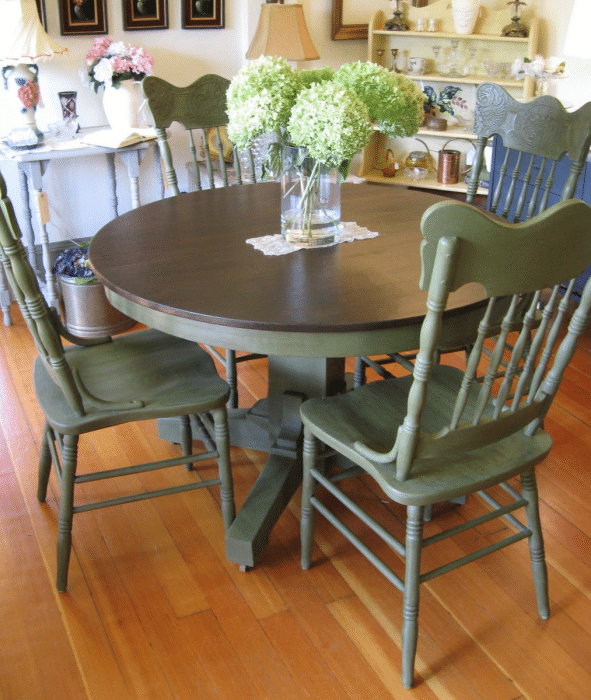 green with stain top table