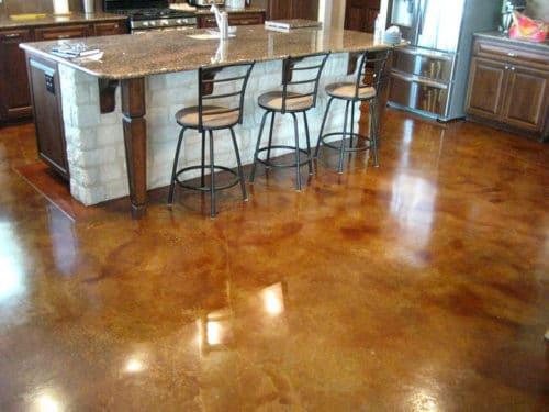 kitchen concrete stained floor