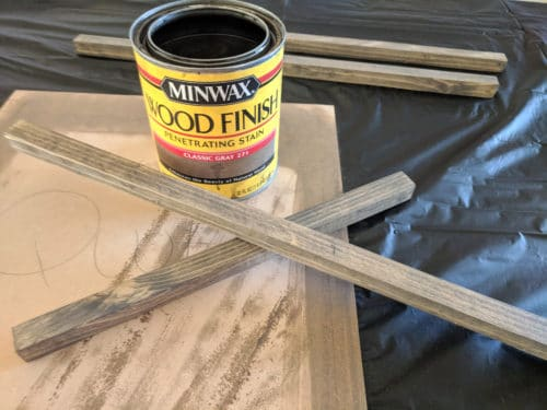 stain wood pieces for frame decor