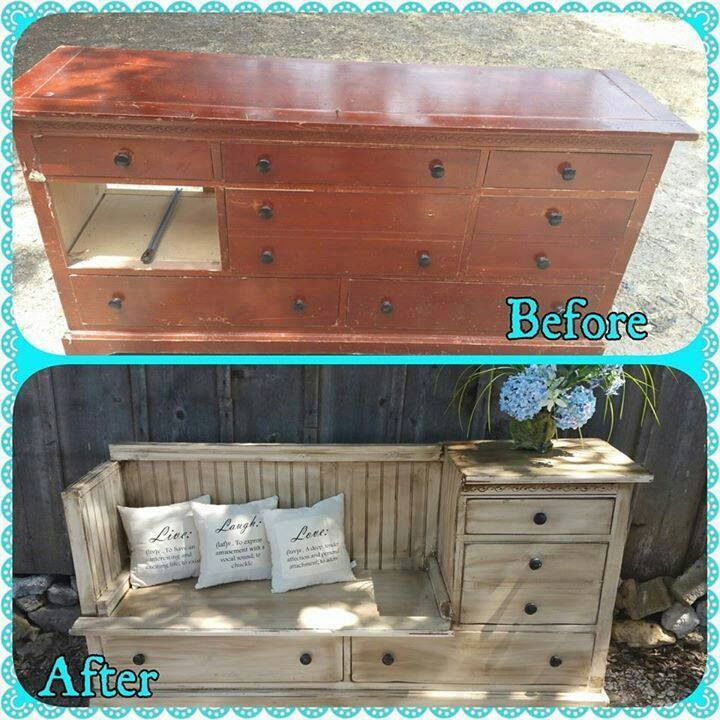 Change a dresser into a bench by removing drawers and adding a seating area