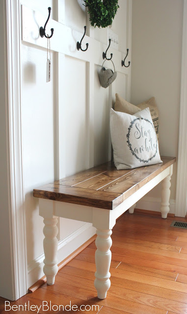 farmhouse style bench wood with white