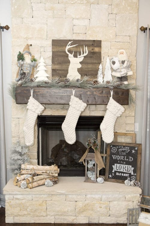 farmhouse christmas mantel stockings fireplace white decor