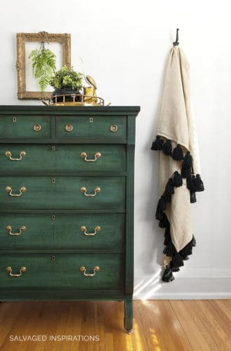 dark green painted dresser