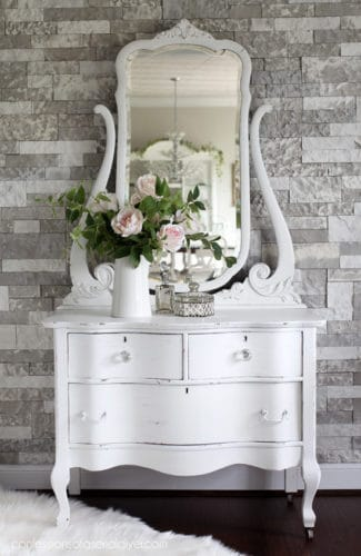 white painted dresser finish makeover