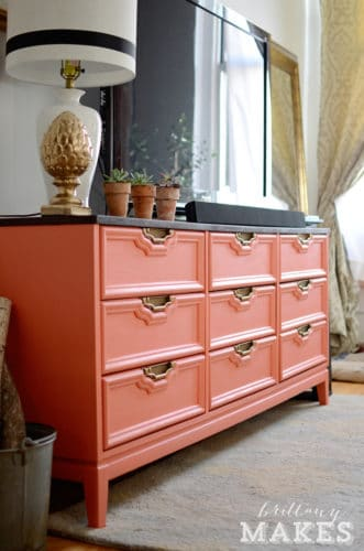 finished dresser painted coral