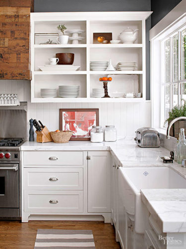 open shelving in kitchen DIY