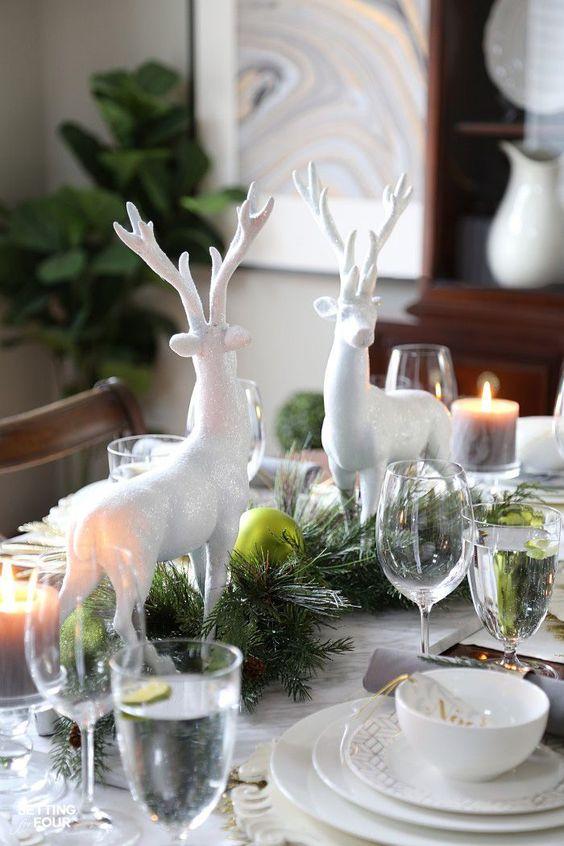 farmhouse table home decor Christmas winter