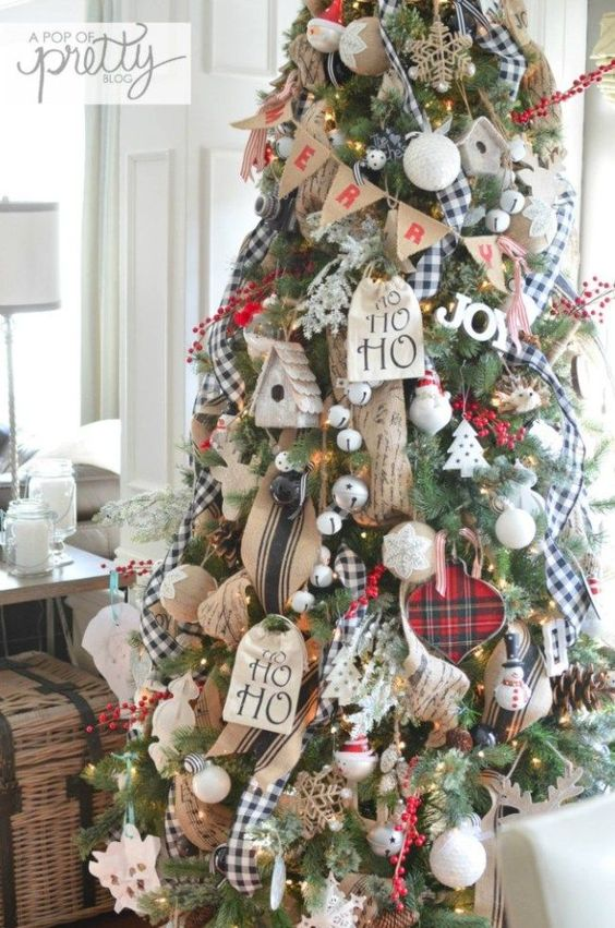 farmhouse christmas tree decor - Farmhouse Christmas Tree Decorations