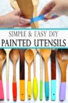 Learn how to make painted utensils! Add color and seasonal decor to your kitchen decor with these simple and easy utensils!