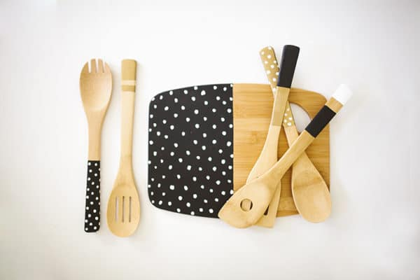 painted cutting board and utensils