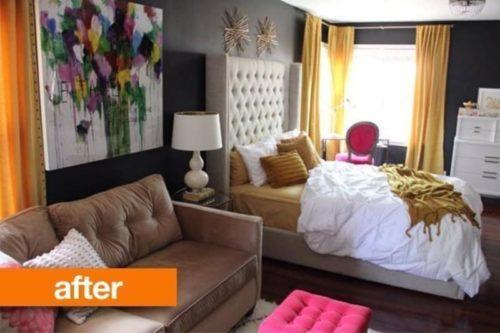 bedroom yellow interior