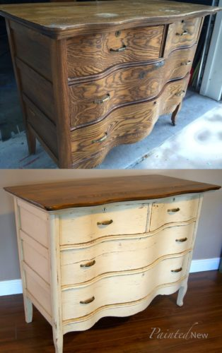 before and after dresser makeover in white