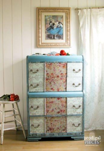 blue dresser makeover