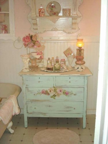white antiqued dresser