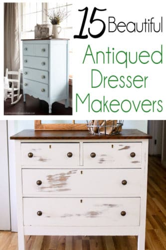 Hand painted antiqued dressers with before and after photos!