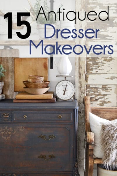 Check out these antiqued makeovers! Antiqued items are more popular than ever before and antiqued dressers are leading the bandwagon.