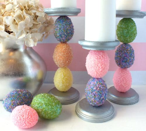 plastic eggs making candle holder