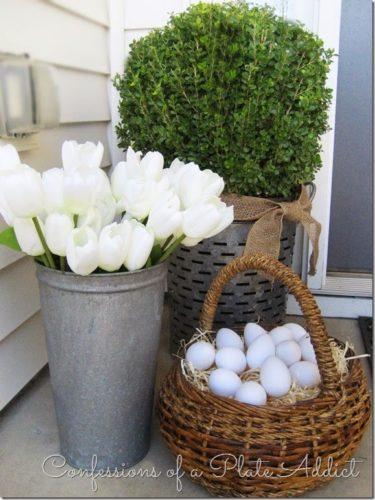 eggs in basket on porch