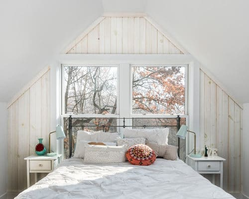 whitewash walls in an attic bedroom