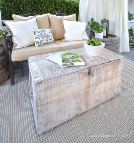 whitewash chest as a coffee table