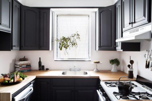 kitchen with butcher block countertop