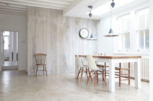 whitewash kitchen with vertical wall planks