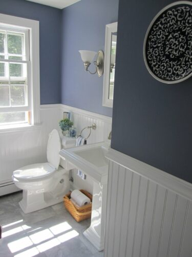 wainscotting in bathroom half way