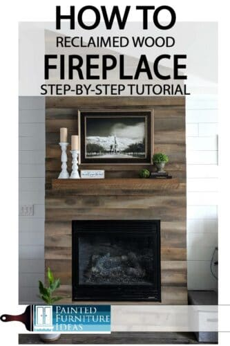 DIY fireplace makeovers are easier than you think.  Check out my tutorial for this reclaimed wood fireplace!