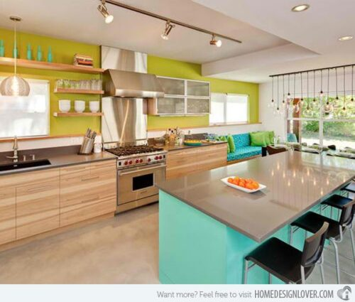 multi color kitchen with lime wood and teal